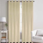J&V Textiles Thermal Solid Blackout Grommet Thermal Curtain Panels (Set of 2); Beige