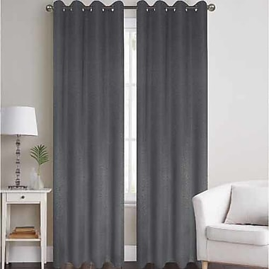 J&V Textiles Thermal Solid Blackout Grommet Thermal Curtain Panels (Set of 2); Silver