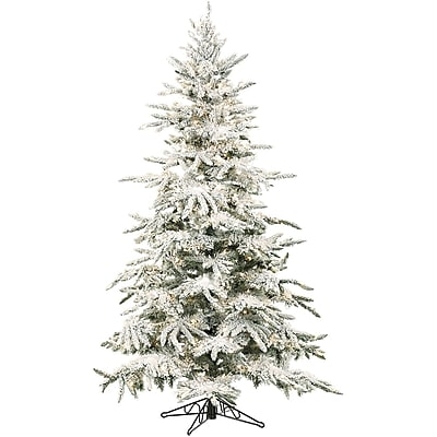 7.5 Ft. Flocked Mountain Pine with Clear LED String Lighting