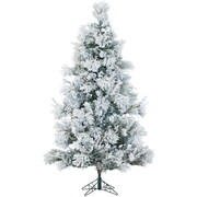 7.5 Ft. Flocked Snowy Pine Christmas Tree with Multi-Color LED String Lighting