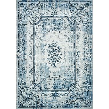Kalora Platinum Traditional White & Blue Area Rug; 5'3'' x 7'7''