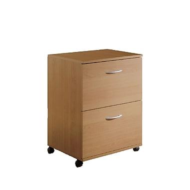 Nexera – Classeur verticale Essentials mobile avec 2 tiroirs, fini érable, format ministre, 18,62 po de largeur