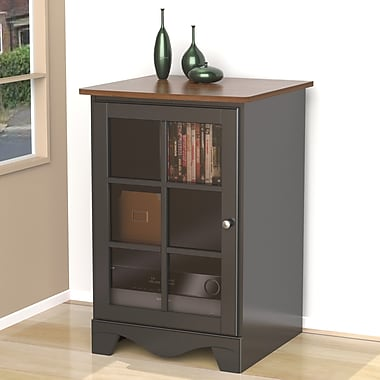 Pinnacle 1-Door Audio Tower from Nexera, Cinnamon Cherry Black