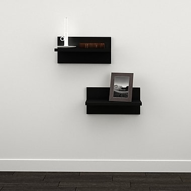 Sereni-T Floating Shelves from Nexera, Black, 2/Pack