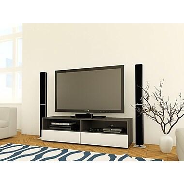 Nexera – Meuble pour téléviseur de 60 po avec 2 espaces de rangement ouverts et 2 tiroirs de la collection Allure, blanc
