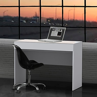 Blvd Desk with Hidden Keyboard Shelf from Nexera, White