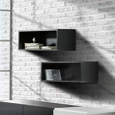 Nexera Avenue Rectangular Wall Shelves, Black, 2/Pack