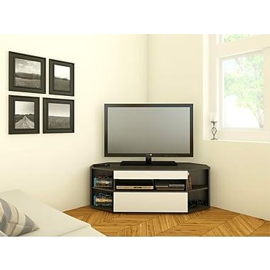 Nexera – Meuble d'angle pour téléviseur Allure de 48 po, blanc