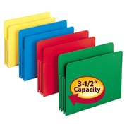 "Smead® Poly File Pocket, Straight-Cut Tab, 3-1/2"" Expansion, Letter Size, Assorted Colors, 4/Box (73500)"