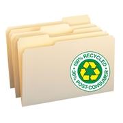 Smead® 100% Recycled File Folders, 1/3-Cut Tab,  Manila, 100/Box