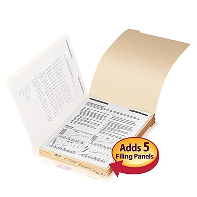Smead Folder Divider with Fastener, Bottom 1/5-Cut Tab, Letter Size, Manila, 50/Pack (35600)