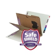 Smead® End Tab Classification File Folder with SafeSHIELD® Fasteners, 2 Pocket Divider, Gray/Green, 10/Box