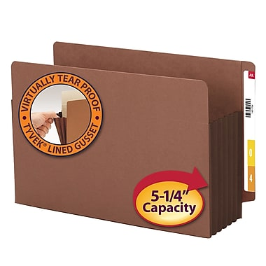 Smead® End Tab Pocket, Reinforced Straight-Cut Tab, 5.25 Expansion, XL Legal, Redrope with Dark Brown Gusset, 10/Box (74691)