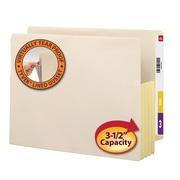 Smead® Expanding End Tab File Pocket, Reinforced Straight-Cut Tab, Expansion, Tyvek-Lined Gusset, Letter, Manila, 10/Box