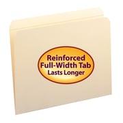 "Smead® File Folders, Straight Cut, Reinforced Top Tab, Letter, Manila, Holds 8 1/2""H x 11""W, 100/Box"