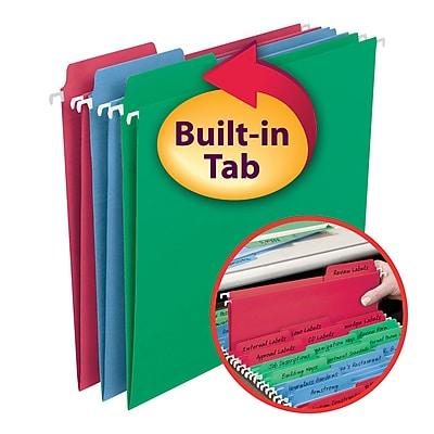 Smead FasTab Hanging File Folders, 1/3 Cut, Letter Size, Multicolor, 18/Box (64053)