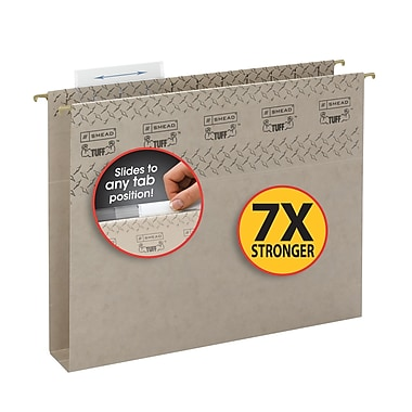Smead® TUFF® Hanging Box Bottom Folder,Easy Slide Tab, 2