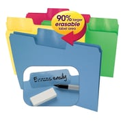 """Smead Super Tab Oversized Erasable Tab File Folders, 1/3 Cut, Assorted Colors, Letter-size Holds 8 1/2"""" X 11"""", 24 Pack"""