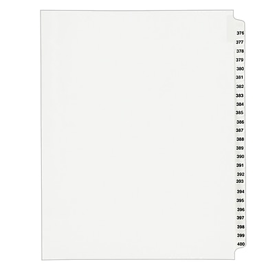 Avery Standard Collated Legal Dividers Avery Style 1345, Letter Size, 376-400 Tab Set