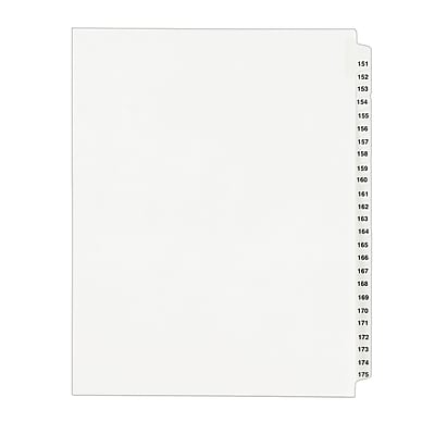 Avery Standard Collated Legal Dividers Avery Style 1336, Letter Size, 151-175 Tab Set