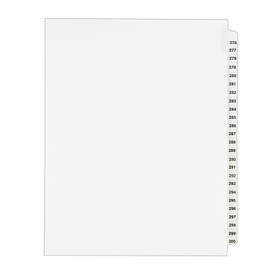 Avery Side Tab Index Dividers, 276-300 Tabs, White, 8 1/2