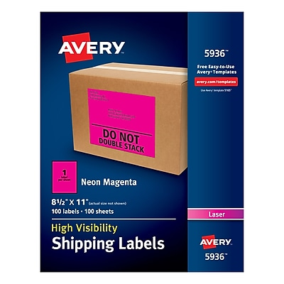 Avery(R) High-Visibility Shipping Labels 05936, Neon Magenta, 8-1/2