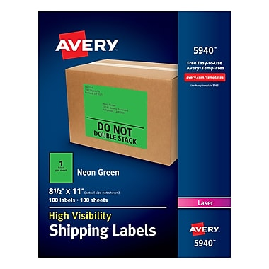 Avery High-Visibility Shipping Labels 05940, Neon Green, 8-1/2