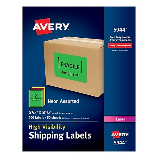 """Avery(R) High Visibility Shipping Labels 05944, Neon Assorted, 5 1/2"""" x 8 1/2"""", Pack of 100 (5944)"""