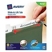 Avery(R) Slide & Lift Tab Hanging Folder 73505, Green, Letter Size, Pack of 12