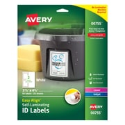 "Easy Align(TM) Self-Laminating ID Labels, 00755, 3-1/2"" x 4-1/2"", Pack of 50"