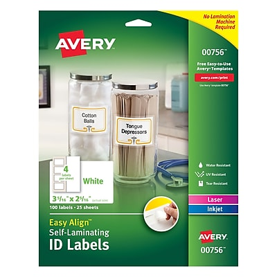 Easy Align(TM) Self-Laminating ID Labels, 00756, 3-5/16