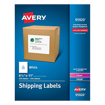 Avery Laser Printer White Shipping Labels - 8.50