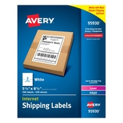 "Avery(R) White Internet Shipping Labels 95930, 5-1/2"" x 8-1/2"", Pack of 500"