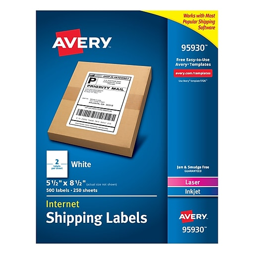 Avery Laser Printer White Shipping Labels 55 X 85 Rectangle