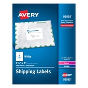 "Avery Laser Printer White Shipping Labels - 3.50""x5"" - 1000bx - Rectangle - 4 Sheet - Laser, Inkjet"