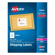"Avery Laser Printer White Shipping Labels - 3.33""x4"" - 1500bx - Rectangle - 6 Sheet - Laser, Inkjet"