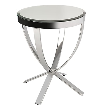 BH Boutique Hotel Plato Mirrored Side Table/Polished Stainless Steel Base