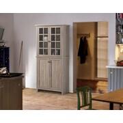 Homestar - Armoire de rangement à 2 portes en verre, vieux bois