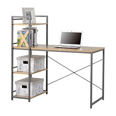 Homestar Desk with built in 4-Shelf Bookcase, Natural Wood