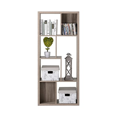 Homestar 7-Compartment Shelving Bookshelf, Reclaimed Wood