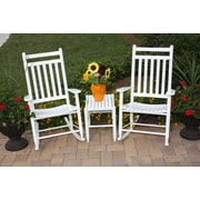 Dixie Seating 3 Piece Adult Slat Seat Porch Rocking Chair and Table Set; White