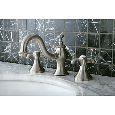 Kingston Brass French Country Widespread Bathroom Faucet w/ Pop-Up Drain; Satin Nickel