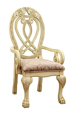 Hokku Designs Dolores Formal Dining Arm Chair (Set of 2); White