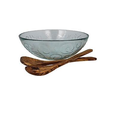 French Home Swirl 3 Piece Recycled Glass Serving Bowl Set; Ice Clear