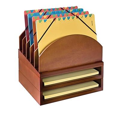Bindertek Stacking Wood Desk Stackable Step Up File & 2 Tray Kit, Cherry (WK2-CH)
