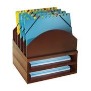 Bindertek Stacking Wood Desk Organizers Step Up File & 2 Tray Kit