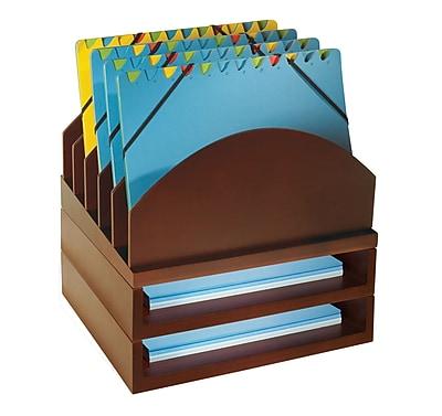 Bindertek Stacking Wood Desk Step Up File & Stackable 2 Tray Kit, Mahogany (WK2-MA)
