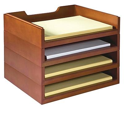 Bindertek Stackable Wood Desk Organizers, 4 Letter Tray Kit, Cherry (WK6-CH)