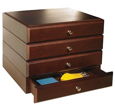 Bindertek Stacking Wood Desk Organizers, 4 Supply Drawer Kit, Mahogany (WK7-MA)