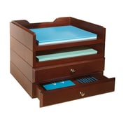 Bindertek Stacking Wood Desk Organizers, 2 Tray & 2 Drawer Kit, Mahogany (WK8-MA)